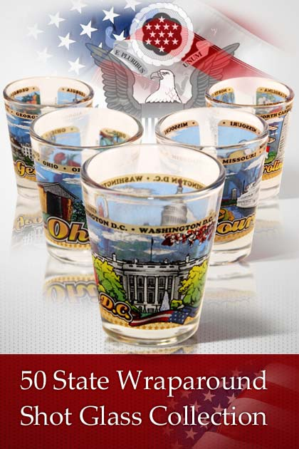 50 States Wraparound Shot Glass Collection
